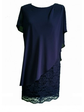 Ladies Plus Size Special Occasion Dress and Chiffon Overlay in Navy