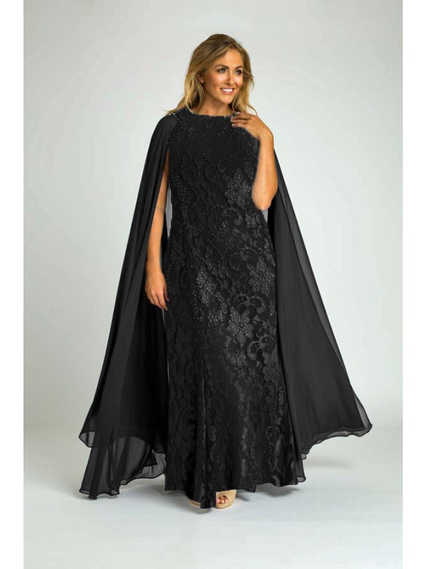 082230608559 Crystal Studded Lace Evening Gown with Chiffon Cape in Black
