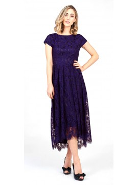 Lace Hi Lo Dress with Cap Sleeve in Purple