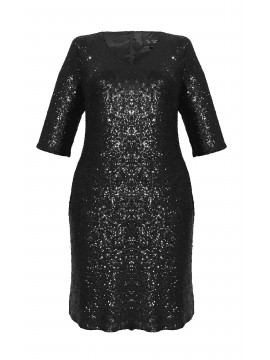 Sequin 3/4 Sleeve Cocktail Dress in Black