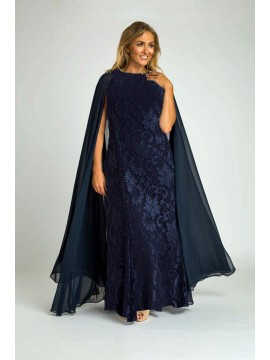 Crystal Studded Lace Evening Gown with Chiffon Cape