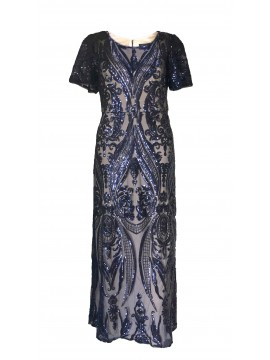Patterned Sequin Evening Dress in Navy