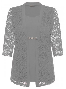 Robin Plus Size 2 in 1 Lace Jacket in Grey
