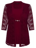 Robin Plus Size 2 in 1 Lace Jacket in Deep Red