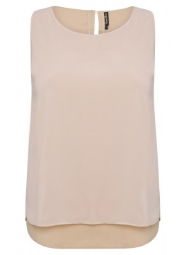 Jackie Chiffon Overlay Camisole in Champagne