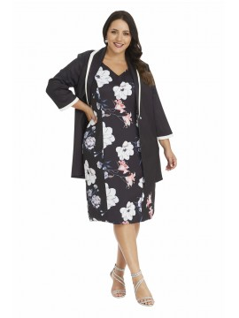 Blossom Print Dress with Sateen Jacket in Black