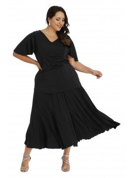 Robin Plus Size Calf Length Skirt in Black