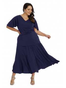 Robin Plus Size Calf Length Skirt in Navy