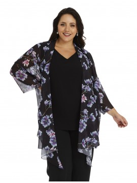 Ladies Plus Size Chiffon Camisole and Waterfall Jacket in Black
