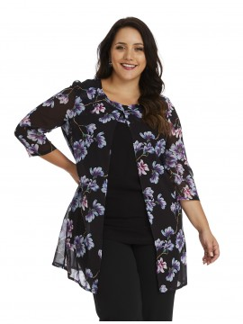 Ladies Plus Size Special Occasion Chiffon Camisole and Jacket in Blossom