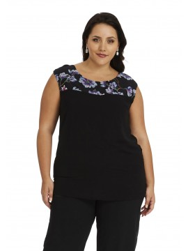 Ladies Plus Size Chiffon Camisole with Floral Print Insert