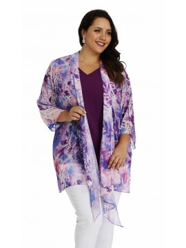 Ladies Plus Size Chiffon Camisole and Waterfall Jacket in Purple