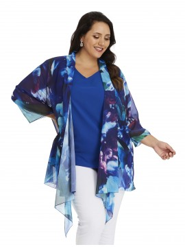 Ladies Plus Size Chiffon Camisole and Waterfall Jacket in Blue