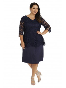 Luxury Lace and Satin Peplum Dress