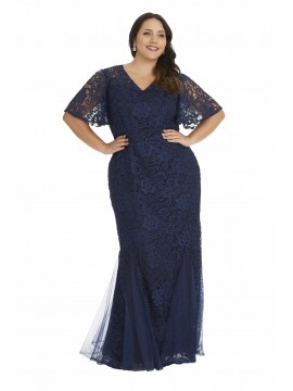 Monique Lace Flutter Sleeve Evening Gown