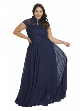 Full Length Plus Size Lace and Chiffon Gown