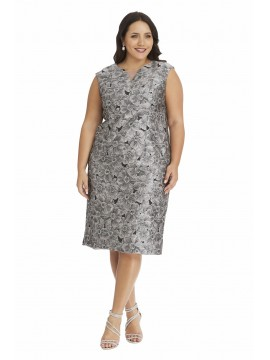Special Occasion Embossed Dress in Charcoal