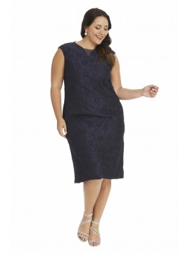 Special Occasion Embossed Dress in Navy