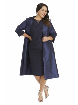 Special Occasion Embossed Dress with Jacket in Navy
