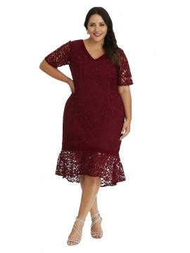 Elegant Plus Size Lace Dress with Sleeves in Red