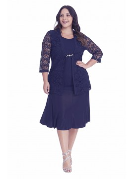 Robin Plus Size 2 in 1 Lace Jacket in Navy