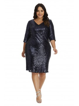 Sequin 3/4 Sleeve Cocktail Dress in Navy