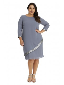 Ladies Plus Size Dress and Chiffon Overlaywith Sequin in Charcoal