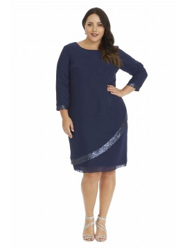 Ladies Plus Size Dress and Chiffon Overlay with Sequin in Navy