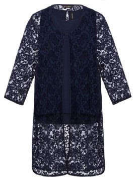 Jackie Chiffon Camisole and Straight Jacket in Navy Lace Set