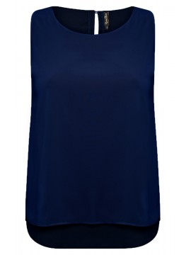 Jackie Chiffon Overlay Camisole in Navy