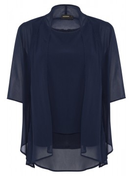 Jackie Chiffon Camisole and Jacket Set in Navy