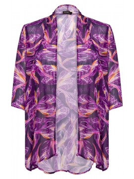 Jackie Chiffon Waterfall Jacket in Mulberry Illusion