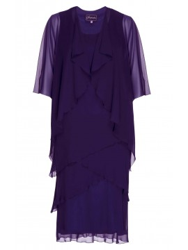 Inspirations Ladies Purple Chiffon Dress and Jacket Set