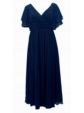 Juliet Chiffon Full Length Chiffon Evening Gown in Navy