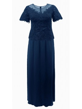 Diana Sparkling Lace Top and Chiffon Skirt in Navy