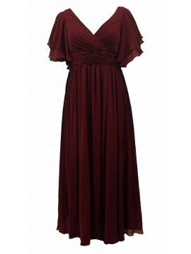 Juliet Chiffon Full Length Chiffon Evening Gown in Ruby
