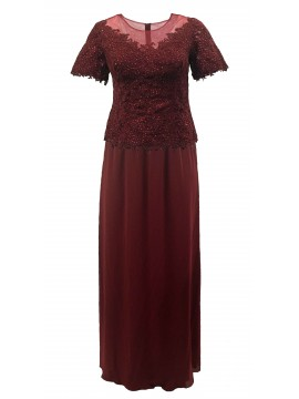 Diana Sparkling Lace Top and Chiffon Skirt in Ruby