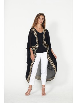Decorative Black and Gold Trim Long Jacket