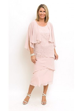 Ladies Plus Size Lace and Chiffon Dress in Pink