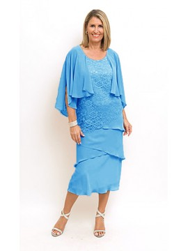 Ladies Plus Size Lace and Chiffon Dress