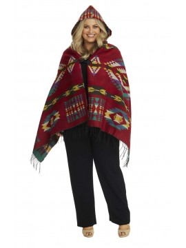 Aztec Hooded Wrap in Red
