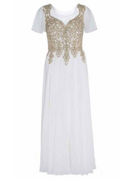 Full Length Chiffon with Gold Lace Bodice Evening Dress in Ivory