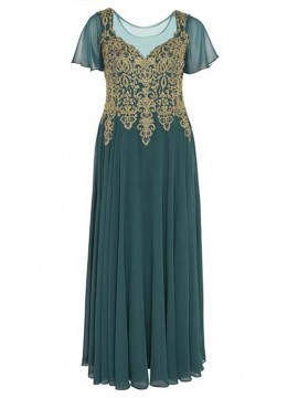 Full Length Chiffon with Gold Lace Bodice Evening Dress in Green