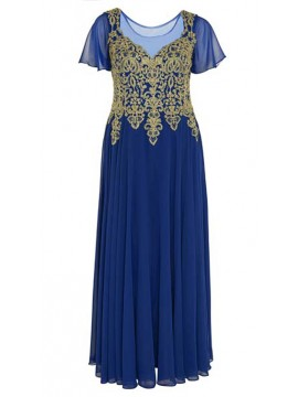 Full Length Chiffon with Gold Lace Bodice Evening Dress in Royal Blue