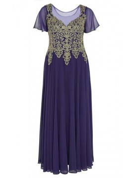 Full Length Chiffon with Gold Lace Bodice Evening Dress in Purple