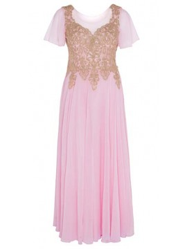 Full Length Chiffon with Gold Lace Bodice Evening Dress in Pink