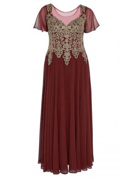 Full Length Chiffon with Gold Lace Bodice Evening Dress in Red