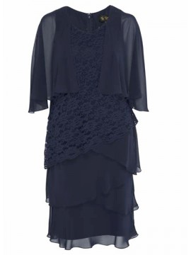 Ladies Plus Size Lace and Chiffon Dress in Navy