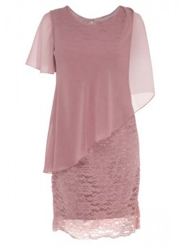 Ladies Plus Size Special Occasion Dress and Chiffon Overlay in Dusty Pink