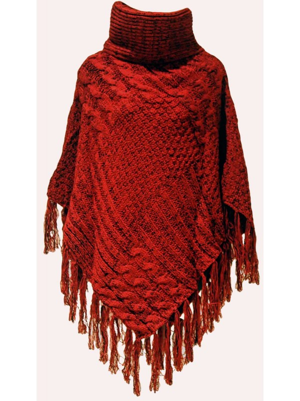 Knitting Pattern Poncho With Collar : Chunky Knit Roll Collar Poncho in Red